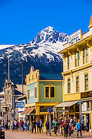 The main street, Broadway, in the Klondike Gold Rush National Historical Park, Skagway, Inside Passage, southeast Alaska USA.