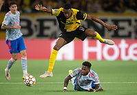 BERN, SWITZERLAND - SEPTEMBER 14: Jordan Siebatcheu of BSC Young Boys leaps over the tackle from Fred of Manchester United during the UEFA Champions League group F match between BSC Young Boys and Manchester United at Stadion Wankdorf on September 14, 2021 in Bern, Switzerland. (Photo by FreshFocus/MB Media)