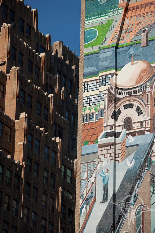Mural on office building wall near 8th Avenue in the thirties