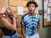 12 JUNE 2020 - DES MOINES, IOWA: JASSMA'RAY and CHARLES (first names only) members of Black Lives Matter, lead a chant in front of the door to the Governor's office. About 75 activists from Black Lives Matter came to the Iowa State Capitol in Des Moines Friday to talk to Iowa Governor Kim Reynolds. They've been trying to meet with Gov. Reynolds all week. She made time for them Friday and met with 5 representatives of the organization without any media in the room. They wanted to talk to her about police violence against African-Americans and racial disparities in Iowa's justice system. While the 5 met with the Governor, the remaining activists picketed the hall in front of her office and chanted.    PHOTO BY JACK KURTZ