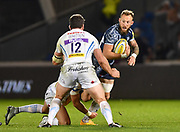 Sale Sharks wing Byron McGuigan during the The Aviva Premiership match Sale Sharks -V- Exeter Chiefs  at The AJ Bell Stadium, Salford, Greater Manchester, England on Friday, October 27, 2017. (Steve Flynn/Image of Sport)
