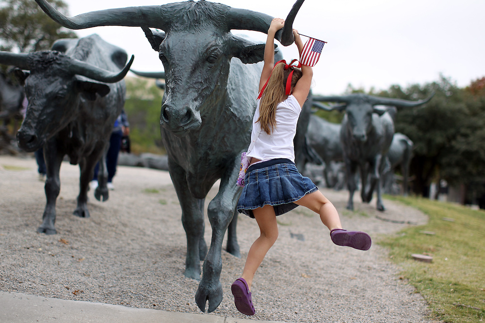 Kaitlyn Frieling, 6, of McKinney hangs on a longhorn statue downtown as her family walks to the Dallas Veterans Day Parade November 11, 2010.