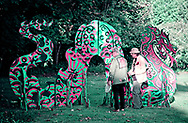 Roslyn, New York, U.S. September 13, 2019. L-R, Dr. HARVEY MANES and GARY BARAT discuss large outdoor dragon Animodules at Animodules at ANIMODULES Agents of Peace exhibit Farewell Reception and Founders' talk by Gary Barat and Chandri Barat  at the Nassau County Museum of Art's Manes Art & Education Center, named for Dr. Manes, who spearheaded the exhibit.