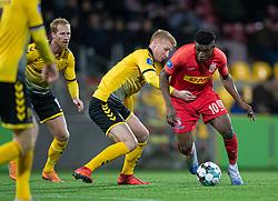 Mohammed Kudus (FC Nordsjælland) trækker fri af Bjarke Jacobsen (AC Horsens) under kampen i 3F Superligaen mellem FC Nordsjælland og AC Horsens den 19. februar 2020 i Right to Dream Park, Farum (Foto: Claus Birch).