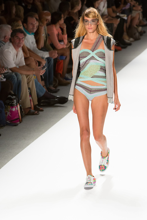 One shoulder swinsuit with vest. By Custo Barcelona at the Spring 2013 Fashion Week show in New York.