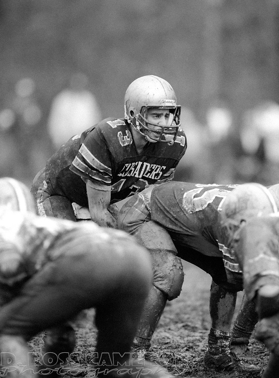 Morris Catholic quarterback Tom Rattay (13) lines up behind center against Butler during a high school football game, Sunday, Nov. 9, 1986, in Denville, N.J. (D. Ross Cameron/North Jersey Advance)