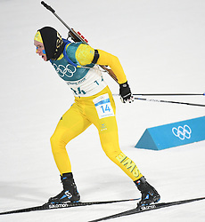 PYEONGCHANG, Feb. 12, 2018  Sweden's Sebastian Samuelsson competes during men's 12.5km pursuit event of biathlon at 2018 PyeongChang Winter Olympic Games at Alpensia Biathlon Centre, Feb. 12, 2018. Sebastian Samuelsson claimed second place in a time of 33:03.7  (Credit Image: © Wang Haofei/Xinhua via ZUMA Wire)