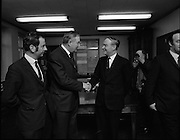 James Callaghan Visits Dublin..1971..05.02.1971..02.05.1971..5th February 1971..While in Dublin to meet the Taoiseach, Mr Jack Lynch TD,the former British Home Secretary, James Callaghan paid a courtesy call on the leader of the opposition Mr Liam Cosgrave TD..Picture shows Mr Liam Cosgrave TD, Fine Gael, leader of the Dail opposition shaking hands with Mr James Callaghan MP,Former British Home Secretary,meeting in Mr Cosgrave's office in Dail Eireann