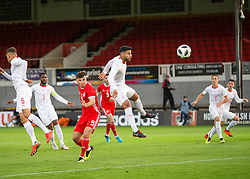 NEWPORT, WALES - Tuesday, October 16, 2018: Switzerland's Eray Cumart in action during the UEFA Under-21 Championship Italy 2019 Qualifying Group B match between Wales and Switzerland at Rodney Parade. (Pic by Laura Malkin/Propaganda)