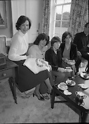 Galway Travellers Visit U.S.Embassy.    (N67)..1981..01.04.1981..04.01.1981..1st April 1981..Elizabeth,the wife of American Ambassador Mr William Shannon,invited a group of Galway travellers to afternoon tea at the residence in Phoenix Park, Dublin...Mrs Shannon and ladies from the Galway travelling community pose for pictures during the afternoon tea.