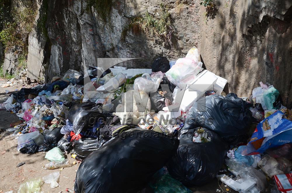Toluca, México (Octubre 24, 2016).- La falta de recolección de basura ha generado que los desperdicios del fin de semana sean colocados por los vecinos en Paseo Matlazincas casi en su incopración a la Avenida Adolfo Lopex Mateos de la capital mexiquense. Agencia MVT / Arturo Hernández.