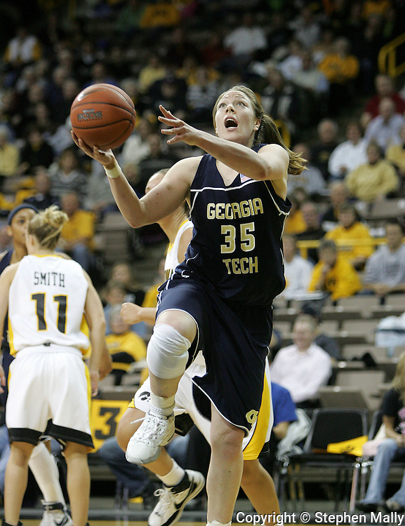 28 NOVEMBER 2007: Georgia Tech forward Brigitte Ardossi (35) drives to the basket for a shot in the second half of Georgia Tech's 76-57 win over Iowa in the Big Ten/ACC Challenge at Carver-Hawkeye Arena in Iowa City, Iowa on November 28, 2007.