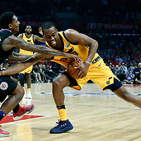 30 November 2017: Utah Jazz guard Alec Burks (10) vies for the ball with LA Clippers guard Lou Williams (23) during the Utah Jazz 126-107 victory over the LA Clippers, at the Staples Center, Los Angeles, California, USA.