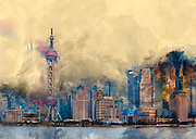 Digitally enhanced image of A view of the Pudong skyline; Changhai, China Oriental Pearl tower