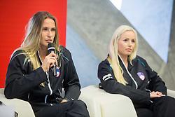 Polona Hercog and Tadeja Majeric during press conference of Slovenian women Tennis team before Fed Cup tournament in Tallinn, Estonia, on January 28, 2015 in Kristalna palaca, Ljubljana, Slovenia. Photo by Vid Ponikvar / Sportida