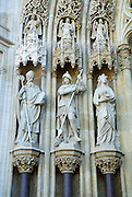 Detail of statues of Sveti Metod (Saint Methodius), Sveti Juraj (Saint George) and Sveti Barbara (Saint Barbara), portal of Cathedral of the Assumption of the Blessed Virgin Mary and Saint Stephen (Sveti Stjepan), Zagreb, Croatia