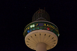 LIVERPOOL, ENGLAND - Tuesday, April 26, 2016: Radio City illuminate the number 96 on their logo at St. John's Beacon in tribute those who lost their lives in the Hillsborough Disaster on the 15 April 1989. This is to mark the verdicts in the two year inquest that returned a verdict of Unlawful Killing. (Pic by David Rawcliffe/Propaganda)