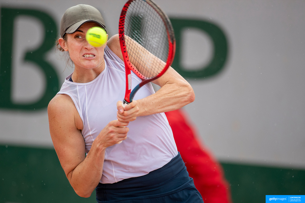 PARIS, FRANCE May 25.  Rebecca Marino of Canada in action against Claire Liu of the United States on the second day of the qualifying tournament at the 2021 French Open Tennis Tournament at Roland Garros on May 25th 2021 in Paris, France. (Photo by Tim Clayton/Corbis via Getty Images)