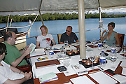 Mark Lawson, Tilda swinton, Tim Lott, Mel Finn and Kumari Issur.  Judges meeting on the floating restaurant. Preparing for the Le Prince Maurice Prize. Mauritius. 27 May 2006. ONE TIME USE ONLY - DO NOT ARCHIVE  © Copyright Photograph by Dafydd Jones 66 Stockwell Park Rd. London SW9 0DA Tel 020 7733 0108 www.dafjones.com