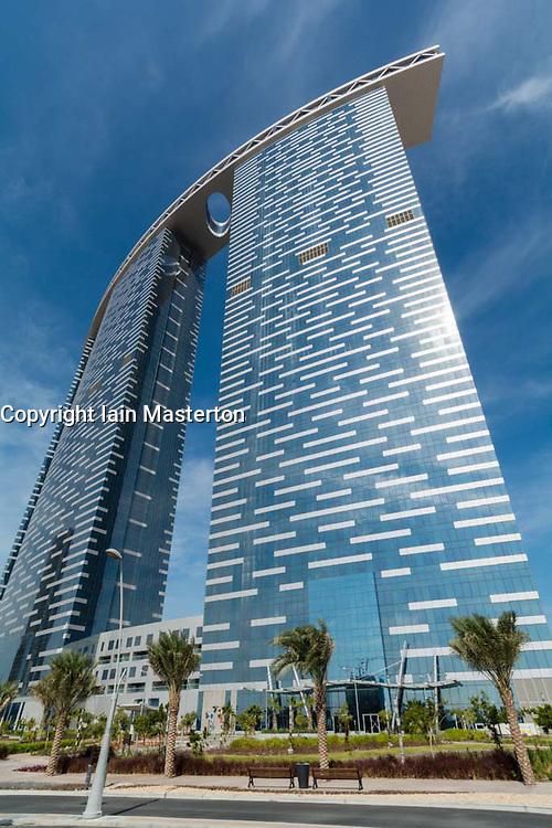 Modern new recently completed high-rise apartment towers at Al Reem Island on Al Reem Island in Abu Dhabi United Arab Emirates UAE