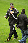 Hurricanes coach Colin Cooper talks with All Blacks back coach Wayne Smith.<br /> Super 14 - Hurricanes training session, at Rugby League Park, Newtown, Wellington. Tuesday, 28 April 2009. Photo: Dave Lintott/PHOTOSPORT