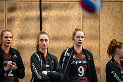 Annika de Goede #5 of Talent Team, Britte Stuut #9 of Talent Team  in action during the first league match in the corona lockdown between Talentteam Papendal vs. Sliedrecht Sport on January 09, 2021 in Ede.