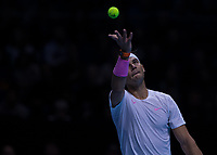 Tennis - 2019 Nitto ATP Finals at The O2 - Day Two<br /> <br /> Singles Group Andre Agassi: Rafael Nadal (Spain) Vs. Alexander Zverev (Germany)<br /> <br /> Rafael Nadal (Spain) serves <br /> <br /> COLORSPORT/DANIEL BEARHAM<br /> <br /> COLORSPORT/DANIEL BEARHAM