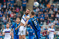 Rochdale  forward Aaron Wilbraham (18) and Gillingham FC defender Max Ehmer (5) during the EFL Sky Bet League 1 match between Gillingham and Rochdale at the MEMS Priestfield Stadium, Gillingham, England on 30 March 2019.