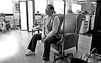 Marie waits for her chemo treatment on March 23, 3007 at the Harold Leever Cancer Center in Waterbury.