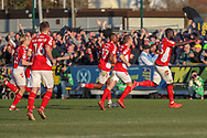 Charlton Athletic defender Mouhamadou-Naby (Naby) Sarr (23) celebrating after scoring goal to make it 1-1 during the EFL Sky Bet League 1 match between AFC Wimbledon and Charlton Athletic at the Cherry Red Records Stadium, Kingston, England on 23 February 2019.