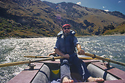 Pete Seeger on raft trip in Hells Canyon, deepest gorge in North America.