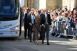 Sienna Miller arriving at York Minster for the wedding of singer Ellie Goulding to Caspar Jopling.