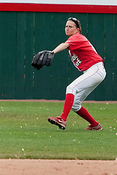 15 April 2012:  Left Fielder Lauren Kellar bears down on a throw back to the infield during an NCAA women's softball game between the Drake Bulldogs and the Illinois State Redbirds on Marian Kneer Field in Normal IL