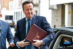 © Licensed to London News Pictures. 21/02/2016. London, UK. Prime Minister David Cameron arrives at BBC Broadcasting House in London to appear on The Andrew Marr show on BBC One on Sunday, 21 February 2016. Photo credit: Tolga Akmen/LNP