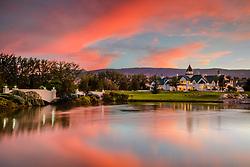 """Rancharrah Sunset 2"" - Sunset photograph of the famous Rancharrah mansion in Reno, Nevada."