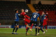 Wigan Athletic forward Will Keane(10) controls the ball on his chest during the EFL Sky Bet League 1 match between Rochdale and Wigan Athletic at the Crown Oil Arena, Rochdale, England on 16 January 2021.
