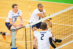 30-12-2019 SLO: Slovenia - Netherlands, Ljubljana<br /> Jelte Maan, Fabian Plak and Wessel Keemink of the Netherlands during friendly volleyball match between National Men teams of Slovenia and Netherlands
