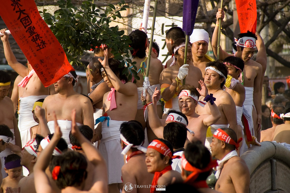 NAGOYA - JAPAN, 7 February 2009: The Naked Man Festival (Hadaka Matsuri) was held. This annual event began in the year 767AD, in the Nara period. The event is held to removed bad luck and bestow good luck on the people. The event this year attracted 180,000 spectators and 12,000 (naked) male participants.