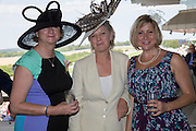 PAM HEALY; COUNTESS OF MARCH, ALISON BAUM, Glorious Goodwood. Thursday.  Sussex. 3 August 2013
