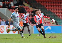 Chris Clements of Grimsby Town chases down James Rowe of Cheltenham Town - Mandatory by-line: Nizaam Jones/JMP - 17/04/2017 - FOOTBALL - LCI Rail Stadium - Cheltenham, England - Cheltenham Town v Grimsby Town - Sky Bet League Two