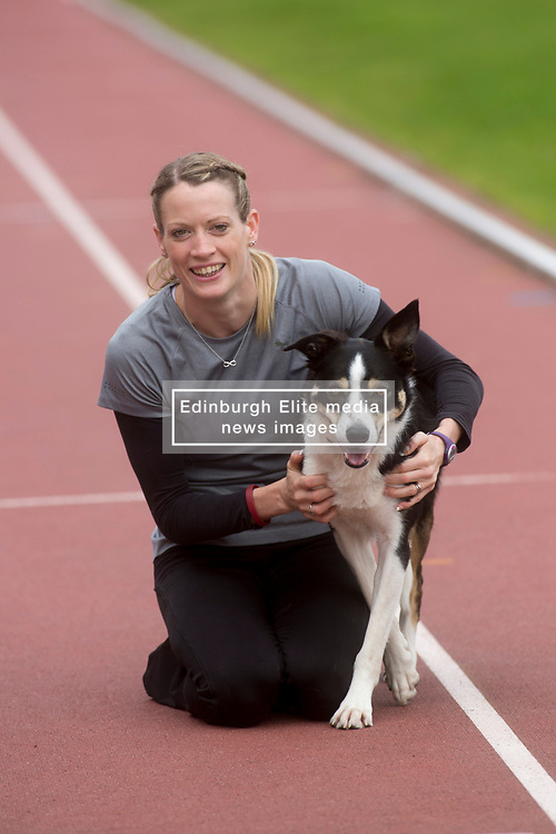 Pictured: Launch of Pound for Paws event for animal welfare charity Scottish SPCA, with Team GM athlete Eilidh Doyle with Bran. <br /> <br /> <br /> <br /> Michael Schofield   EEm date
