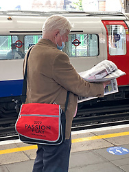 © Licensed to London News Pictures. 05/10/2020. London, UK. STANLEY JOHNSON, father of British Prime Minster Boris Johnson, is seen only partly wearing a face mask while waiting in a station to board a London Underground train. Mr Johnson, who has come under criticism for recently not wearing a face mask, has featured in a book titled The Gambler, by author Tom Bower. Photo credit: Ben Cawthra/LNP