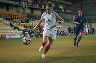 Jodie Taylor (England) (Arsenal) about to cross the ball into the Italy Ladies penalty box during the Women's International Friendly match between England Ladies and Italy Women at Vale Park, Burslem, England on 7 April 2017. Photo by Mark P Doherty.