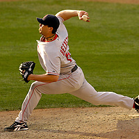 11 August 2007:  Boston Red Sox pitcher Josh Beckett pitches in the 6th inning against the Baltimore Orioles. Beckett gave up two earned runs in 8 innings, striking out eight for his 15th win of the year as the Red Sox defeated the Orioles 6-2 at Camden Yards in Baltimore, MD.