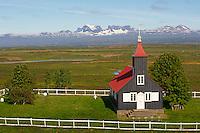 Islande, fjord de l Est, eglise de Kirkjubaer // Iceland, Esatfjord, Kirkjubaer church