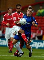 Photo: Ed Godden.<br />Nottingham Forest v Bradford City. Coca Cola League 1.<br />05/08/2006. Jack Lester (L) clashes with Bradford's Steven Schumacher.