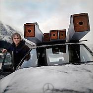 Organbuilders Ingo Korte and Karl Russoy(inside the car)