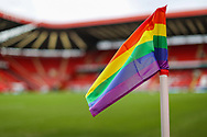 A general view of the Charlton Athletic corner flag in support of the Stonewall's Rainbow Laces campaign inside The Valley stadium prior to the EFL Sky Bet League 1 match between Charlton Athletic and AFC Wimbledon at The Valley, London, England on 12 December 2020.
