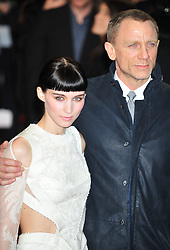 © Licensed to London News Pictures. 12/12/2011. London, England.Rooney Mara and Daniel Craig attends the world premiere of The Girl With The Dragon Tattoothe first film in the three-picture adaptation of Stieg Larsson's literary blockbuster The Millennium Trilogy.  Directed by David Fincher and starring Daniel Craig and Rooney Mara  in Liecester Square London .  Photo credit : ALAN ROXBOROUGH/LNP
