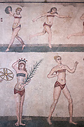 Famous mosaics and mosiac art of ' bikini girls ' athletes at ancient Roman Villa del Casale, Piazza Armerina, Sicily, Italy